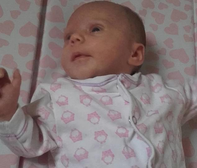 Two month old Teri-Rae (pictured) struggled to breathe and ultimately died from asphyxia, the court heard