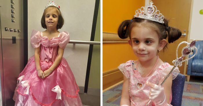 Πεντάχρονη εμφανίζεται με «πριγκιπικά» φορέματα κάθε φορά που πάει να κάνει χημειοθεραπεία